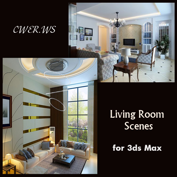 Living room Interiors for 3ds Max part 5